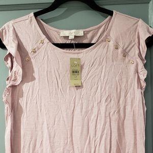 Light pink LP Ann Taylor Loft cap flutter sleeve